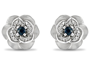 Pre-Owned Enchanted Disney Cinderella Stud Earrings Blue Sapphire And White Diamond Rhodium Over Sil
