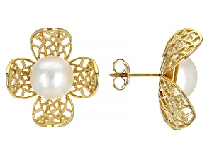 Pre-Owned Pacific Style™ White Cultured Mabe Pearl 18K Gold Over Silver Flower Earrings