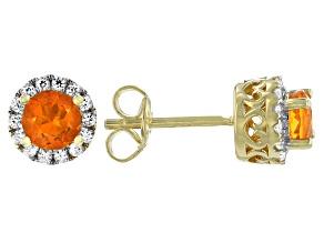 Pre-Owned Orange Fire Opal 18k Gold Over Sterling Silver Halo Stud Earrings 1.01ctw