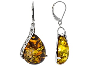 Pre-Owned Orange amber rhodium over sterling silver earrings