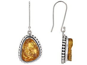 Pre-Owned Rough Citrine Sterling Silver Dangle Earrings