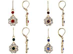 Pre-Owned Off Park ® Collection Gold Tone, Round Multi-color Crystal Set of 4 Floral Earrings