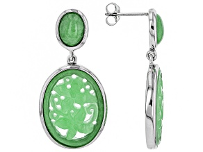 Pre-Owned Green Jadeite Rhodium Over Sterling Silver Earrings