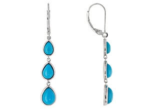 Pre-Owned Blue Turquoise Sterling Silver Dangle Earrings