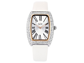Pre-Owned Burgi™ Crystals From Swarovski™ and White Leather Band Watch