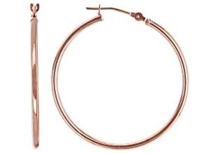 Pre-Owned 14K Rose Gold 30MM Tube Hoop Earrings