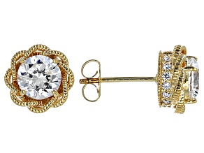 Pre-Owned Cubic Zirconia 18k Yellow Gold Over Sterling Silver Earrings 3.14ctw