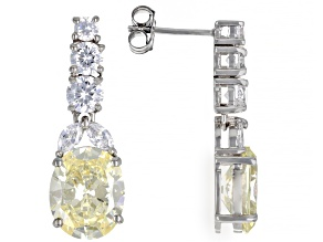 Pre-Owned Yellow And White Cubic Zirconia Rhodium Over Sterling Silver Earrings 14.48ctw