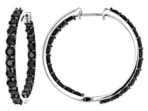 Pre-Owned Black Spinel Sterling Silver inside/Outside Hoop Earrings 13.26ctw