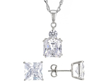 Picture of Pre-Owned White Cubic Zirconia Rhodium Over Sterling Silver Earrings And Pendant With Chain 12.47ctw