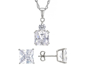 Pre-Owned White Cubic Zirconia Rhodium Over Sterling Silver Earrings And Pendant With Chain 12.47ctw