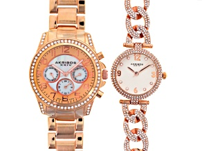 Pre-Owned Ladies White Crystal Rose Tone Watch Set Of 2