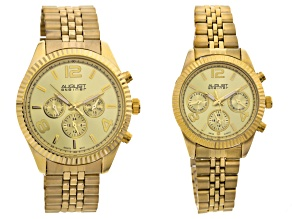 Pre-Owned His & Hers Gold Tone Watch Set Of 2