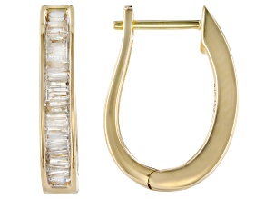 Pre-Owned White Diamond 10k Yellow Gold Hoop Earrings 0.40ctw