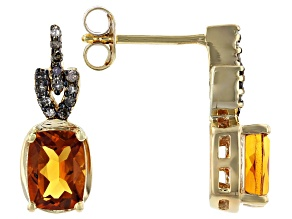 Pre-Owned Orange Citrine 18k Gold Over Silver Earrings 1.58ctw
