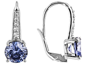 Pre-Owned Blue And White Cubic Zirconia Rhodium Over Sterling Silver Earrings 6.33ctw
