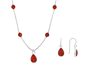 Pre-Owned Red Coral Sterling Silver Necklace And Earrings Set.