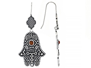 Pre-Owned Onyx Sterling Silver Hamsa & Evil Eye Earrings