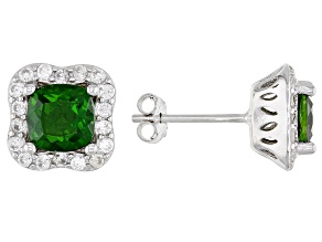 Pre-Owned Green Russian Chrome Diopside Rhodium Over Sterling Silver Earrings 2.37ctw