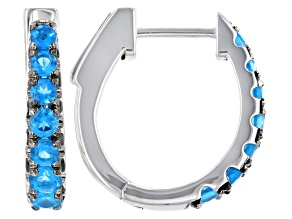 Pre-Owned Blue Apatite Rhodium Over Sterling Silver Hoop Earrings 1.04ctw