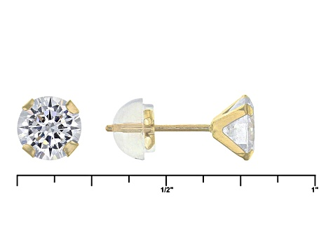 Pre-Owned White Cubic Zirconia 10k Yellow Gold Earrings 5.04ctw