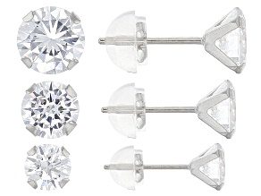 Pre-Owned White Cubic Zirconia 10kt White Gold Earrings 5.04ctw
