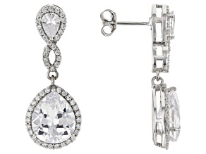 Pre-Owned White Cubic Zirconia Rhodium Over Sterling Silver Earrings 17.90ctw