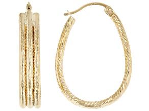 Pre-Owned 14K Yellow Gold Polished Diamond-Cut 3 Row Oval Hoop Earrings