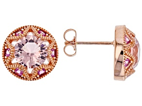 Pre-Owned Pink Morganite Simulant And Pink Cubic Zirconia 18K Rose Gold Over Sterling Silver Earring