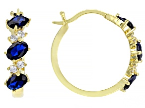 Pre-Owned Blue and White Cubic Zirconia 18k Yellow Gold Over Sterling Silver Earrings 3.05ctw