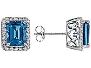 Pre-Owned London Blue Topaz Rhodium Over Silver Earrings 5.24ctw