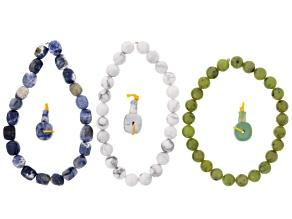 Pre-Owned Dakota Stones™ Mala Cool Boho Stack Bead Set incl 3 Bead Strands And 3 Mala Beads