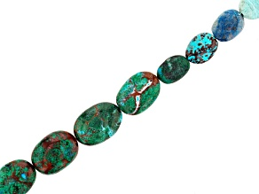 "Pre-Owned Chrysocolla Azurmalachite in Matrix Oval Bead Strand Appx 8"" in length"