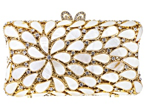 Pre-Owned Mother Of Pearl Simulant Gold Tone Clutch