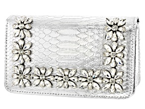 Pre-Owned Silver Tone Faux Snakeskin Clutch