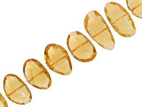 """Pre-Owned Citrine Appx 8x10 - 11x15mm Rose Cut Fancy Oval Bead Strand Appx 16"""" Length"""