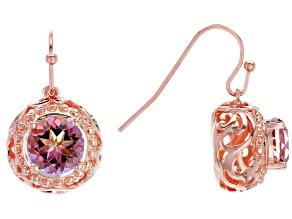 Pre-Owned Pink Salmon Sensation™ Quartz Copper Earrings 3.06ctw
