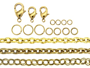 Pre-Owned Iron chain Kit in Antiqued Gold Tone Set of 3 Styles Fancy Chains including Findings