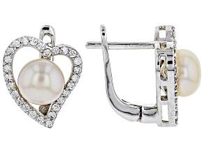 Pre-Owned 7-8mm Cultured Freshwater Pearl & Bella Luce(R) Diamond Simulant Rhodium Over Silver Earri