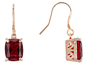 Pre-Owned Red Lab Created Ruby Copper Earrings 7.20ctw