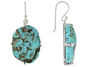 Pre-Owned Free-form Turquoise Sterling Silver Dangle Earrings