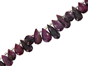 Pre-Owned Red Corundum Appx 5x8mm-8x15mm Graduated Faceted Drop Shape Bead Strand Appx 8""