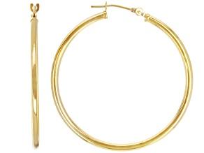 Pre-Owned 14K Yellow Gold 35MM Tube Hoop Earrings