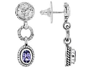 Pre-Owned Tanzanite Sterling Silver Dangle Earrings 1.24ctw