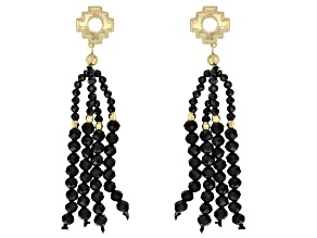 Pre-Owned Black Spinel 10k Yellow Gold Tassel Earrings 16.53ctw