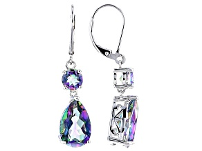 Pre-Owned Multicolor Quartz Rhodium Over Sterling Silver Earrings 8.45ctw