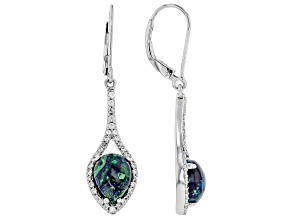Pre-Owned Blue Azurmalachite Rhodium Over Silver Earrings .31ctw