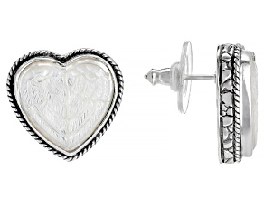 Pre-Owned White Mother Of Pearl Heart Sterling Silver Angel Wing Earrings
