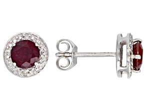 Pre-Owned Red ruby rhodium over silver earrings 1.28ctw