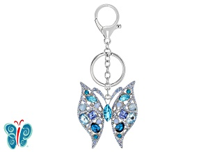Pre-Owned Blue Crystal, Silver Tone Butterfly Key Chain